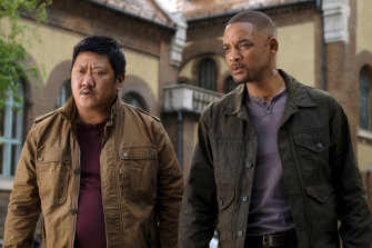 Benedict Wong, left, and Will Smith in a scene from the Ang Lee film Gemini Man.