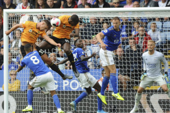 Leander Dendoncker scores a disallowed goal for Wolves against Leicester City at the King Power Stadium in Leicester on Sunday.