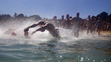 Competitors take the plunge at the start of the Cole Classic.