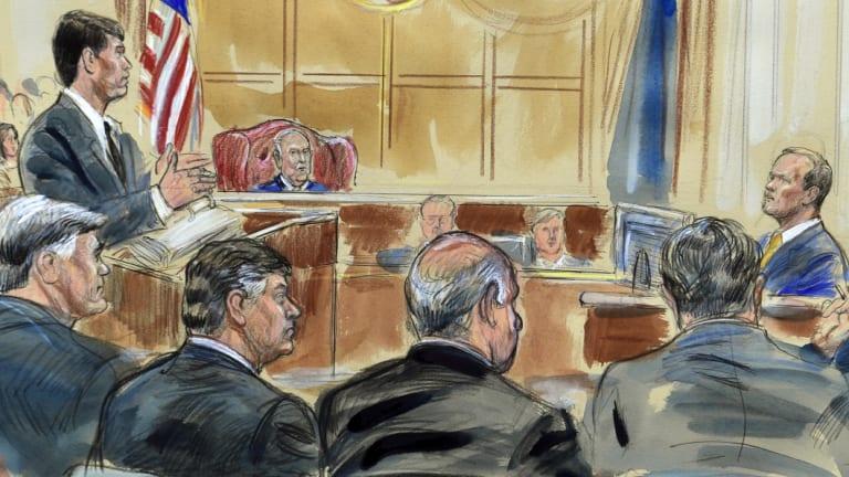 This courtroom sketch depicts Rick Gates, right, answering questions by prosecutor Greg Andres as he testifies in the trial of Paul Manafort at the Alexandria Federal Courthouse in Alexandria.