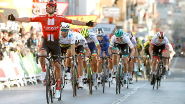 Canberra cycling star Michael Matthews sprints to victory in the second stage of the Tour of Catalonia.