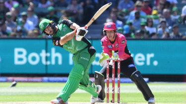 Master blaster: Glenn Maxwell takes full toll of the Sixers attack.