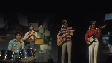 The Kinks performing on TV in 1969. Ray Davies is second from right.