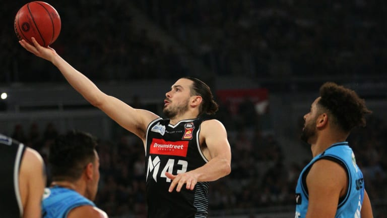 Chris cross: Melbourne captain Chris Goulding finds a way through the New Zealand defence to score an easy lay-up.