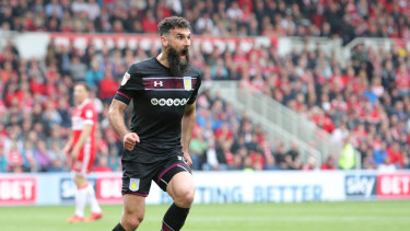Mile Jedinak celebrates putting Aston Villa in front.