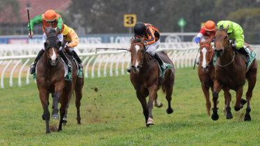 Riding with purpose: Hugh Bowman (far left) boots home Common Purpose in the Tab Highway Handicap at Rosehill last August.