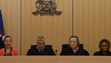 Indigenous elder Joanne Selfe, Children's Court President Peter Johnstone, Magistrate Sue Duncombe and Indigenous elder Pat Field at the ceremonial sitting of the Youth Koori Court in Surry Hills on Wednesday.