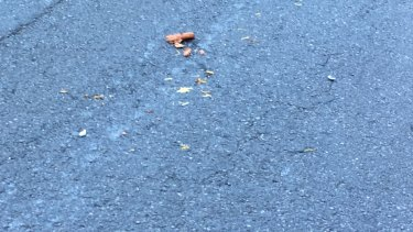 A sausage and sauerkraut was left strewn on the road after the accident at the corner of George and Queen streets in Brisbane.