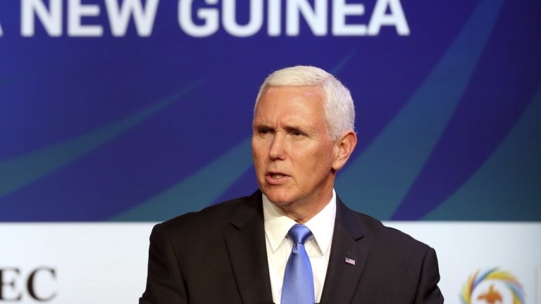 US Vice-President Mike Pence at the same meeting.