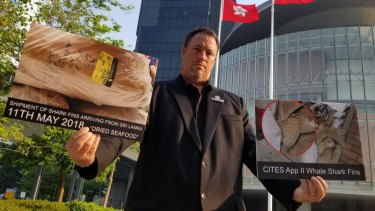 Gary Stokes, Asia director at Sea Shepherd, who discovered the endangered fins within the shipment, with images taken in front of Legco (Hong Kong).