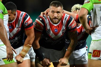 Sydney Roosters prop Jared Waerea-Hargreaves packs for a scrum against the Raiders earlier in the season.