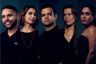 The dominant narrative around Indigenous affairs is often centred on disadvantage. But that narrative obscures another story – less talked about, but equally compelling – of success. (From left) Nathan Martin, Rachael Hocking, Meyne Wyatt, Vanessa Turnbull-Roberts and Amelia Telford.