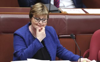Defence Minister Linda Reynolds in Question Time on Tuesday. She was admitted to hospital the next day.