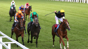 Frankie Dettori celebrates on Stradivarius in the Goodwood Cup.