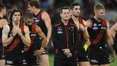 Bombers coach John Worsfold with his team after the loss to Collingwood on Anzac Day.