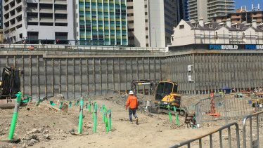 Excavation on the Queen's Wharf casino site below George Street.