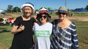 Pauline Hollywood, Maggie Young and Ruth Leahy joined the convoy out of concern for the Adani coal mine's impact on the future health of the environment.