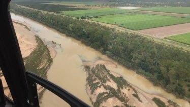 Sediment flowing down the Burdekin River towards Upstart Bay near Bowen.