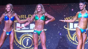 """Natalie Joyce competes at the """"I Compete Naturally North Coast Classic"""" bodybuilding competition in Newcastle."""