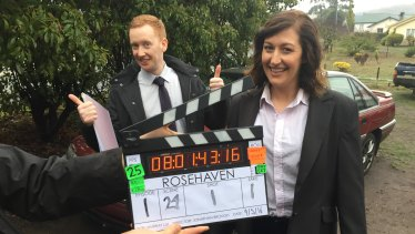 McGregor and Pacquola on day one of filming Rosehaven.