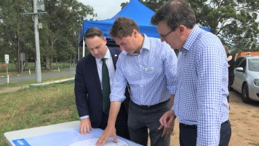 "Brisbane lord mayor Adrian Schrinner, Bonner MP Ross Vasta and Cities Minister Alan Tudge pledge $226 million for a ""congestion-busting"" package on Brisbane roads."