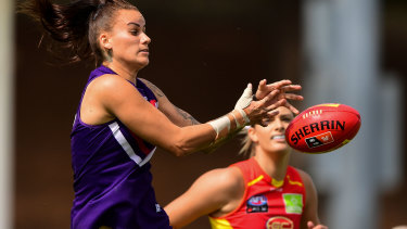 Gemma Houghton of the Dockers rises for a mark in her side's semi-final win over Gold Coast.