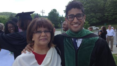 Adam Kassam and his mother.