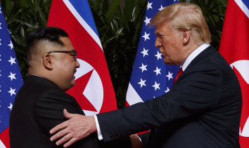 North Korean leader Kim Jong-un and US President Donald Trump in Singapore.