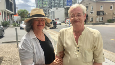 Former Whiskey Au Go Go waitress Donna Phillips and convicted murderer and Port News editor, Billy Stokes, in Amelia Street where the Whiskey Au Go Go was located.