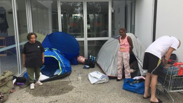Homeless people camp outside HBF Park in inner-city Perth.