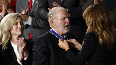 Rush Limbaugh received the Medal of Freedom from US first lady Melania Trump during Donald Trump's 2020 State of the Union address.
