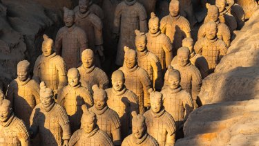 The terracotta army buried in the pits next to the Emperor Qin's tomb in Xian.