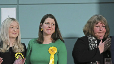 Lib Dem leader Jo Swinson, second right, reacts as she loses her East Dumbartonshire constituency.