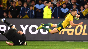 Nic White takes flight in Australia's big win over the All Blacks in Perth last month.