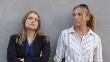 Merritt Weaver (left) and Toni Collette play detectives trying to catch a rapist in the Netflix series Unbelievable.