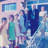"""December 5, 1970: Ernest William """"Bluey"""" and Johanna McGann with their five daughters (left to right, ascending in age) Betty, Pat, Norma, Phyllis and Joan, on the wedding day of Norma's daughter."""