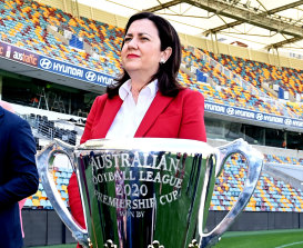 Premier Annastacia Palaszczuk at the announcement that the Gabba would host the AFL grand final.