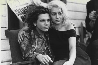 Michael Hutchence as Sam and Post as Anna in Richard Lowenstein's Dogs In Space.