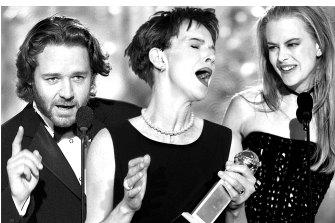 Not supplicants needing validation: Russell Crowe, Judy Davis, Nicole Kidman, winners at the 2002 Golden Globe Awards