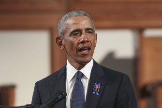 Former president Barack Obama delivers the eulogy at the funeral for the late Representative John Lewis.