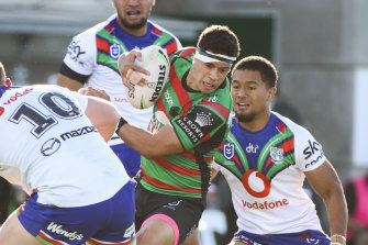 Dane Gagai in action during the 60-22 hammering of the New Zealand Warriors.