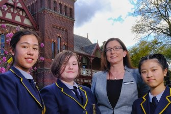 Fintona Girls' School principal Rachael Falloon with students Rachel Crawford, Madeleine Maxwell and Fiona Li.