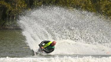 Jason Sleep competing at the 2017 world championships in Myuna Bay, NSW.