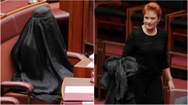 Senator Hanson wore a burqa into the Senate on Thursday, August 17, 2017.