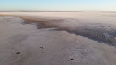 The view from above Lake Eyre, where Canberra man Dr Peter Evans and his fellow pilots began the first ever paramotor flight from Australia's lowest point to its highest peak.