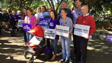 Labor MPs showing their support: Mark Bailey (second from right), Di Farmer (third from right), Stirling Hinchliffe (fourth from right), Yvette D'Ath (fifth from right), Shannon Fentiman (sixth from right) and Jackie Trad (second from left).