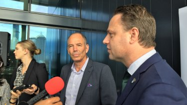 Netflix co-founder Marc Randolph and Brisbane lord mayor Adrian Schrinner speak to the media at the 2019 Asia Pacific Cities Summit.