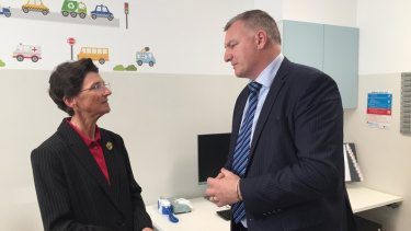 Janet Anderson with director-general of ACT Health Michael De'Ath at the opening of a new walk-in health centre in Gungahlin.