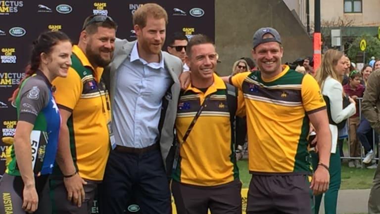 Prince Harry with members of the Australia Invictus team.