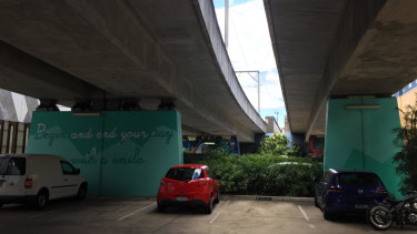 The view under the South Brisbane rail line as of February 2019.